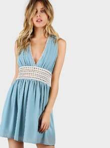 Lace Trim Chiffon Flow Dress DUSTY BLUE
