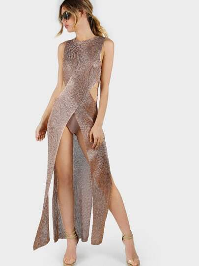 Metallic Net Dress ROSE GOLD