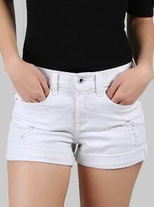 Cuffed Distressed Shorts WHITE