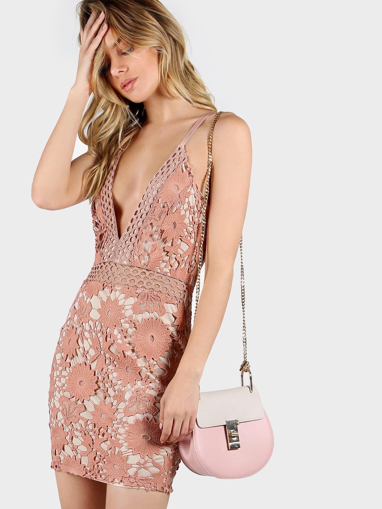 Фото Lace Overlay Plunging Cami Dress. Купить с доставкой
