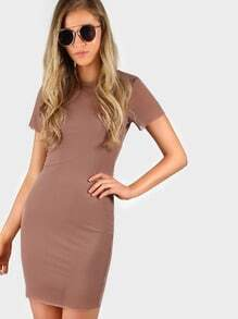 Two in One Knit Mesh Dress MOCHA