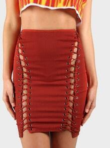 Grommet and Lace Bodycon Skirt RUST
