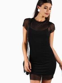 Knit Mesh Dress BLACK