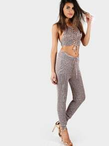 Netted Lace Up Crop and Matching Pant Set DARK PINK