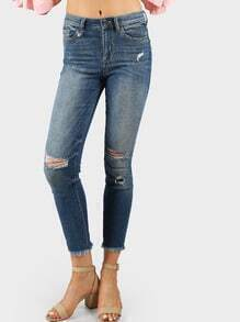 High Rise Distressed Frayed Hem Denim Skinny Jeans DENIM