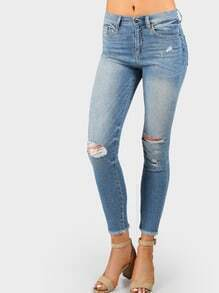 Ripped Knee High Rise Distressed Denim Jeans DENIM