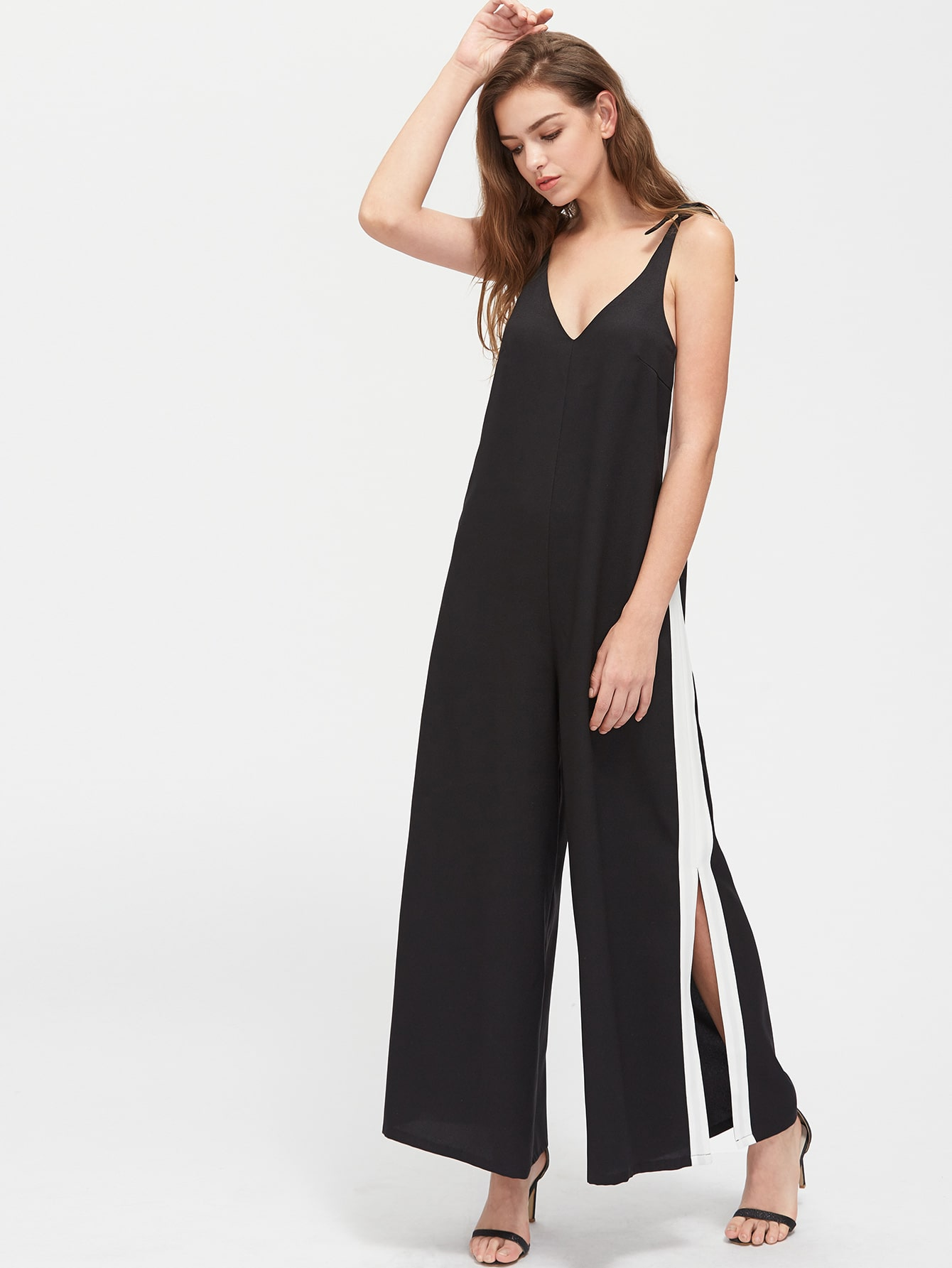 Фото Knot Shoulder Contrast Panel Slit Pinafore Jumpsuit. Купить с доставкой