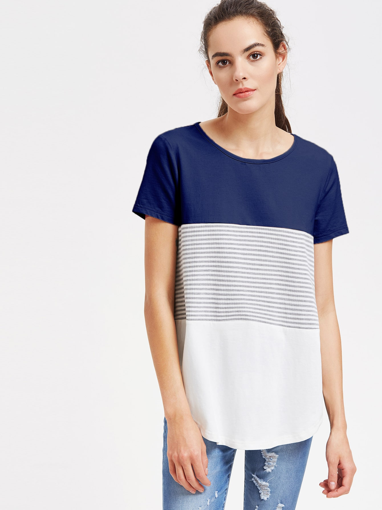 Curved Hem Cut And Sew Striped Tee jessie j jessie j alive