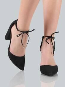 Point Toe Ankle Wrap Heels BLACK