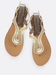 Metallic Loop Thong Sandals GOLD