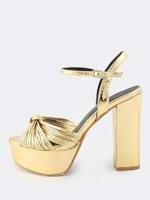 Metallic Twisted Knot Platform Heels GOLD