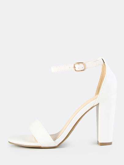 Faux Leather Ankle Strap Heels WHITE