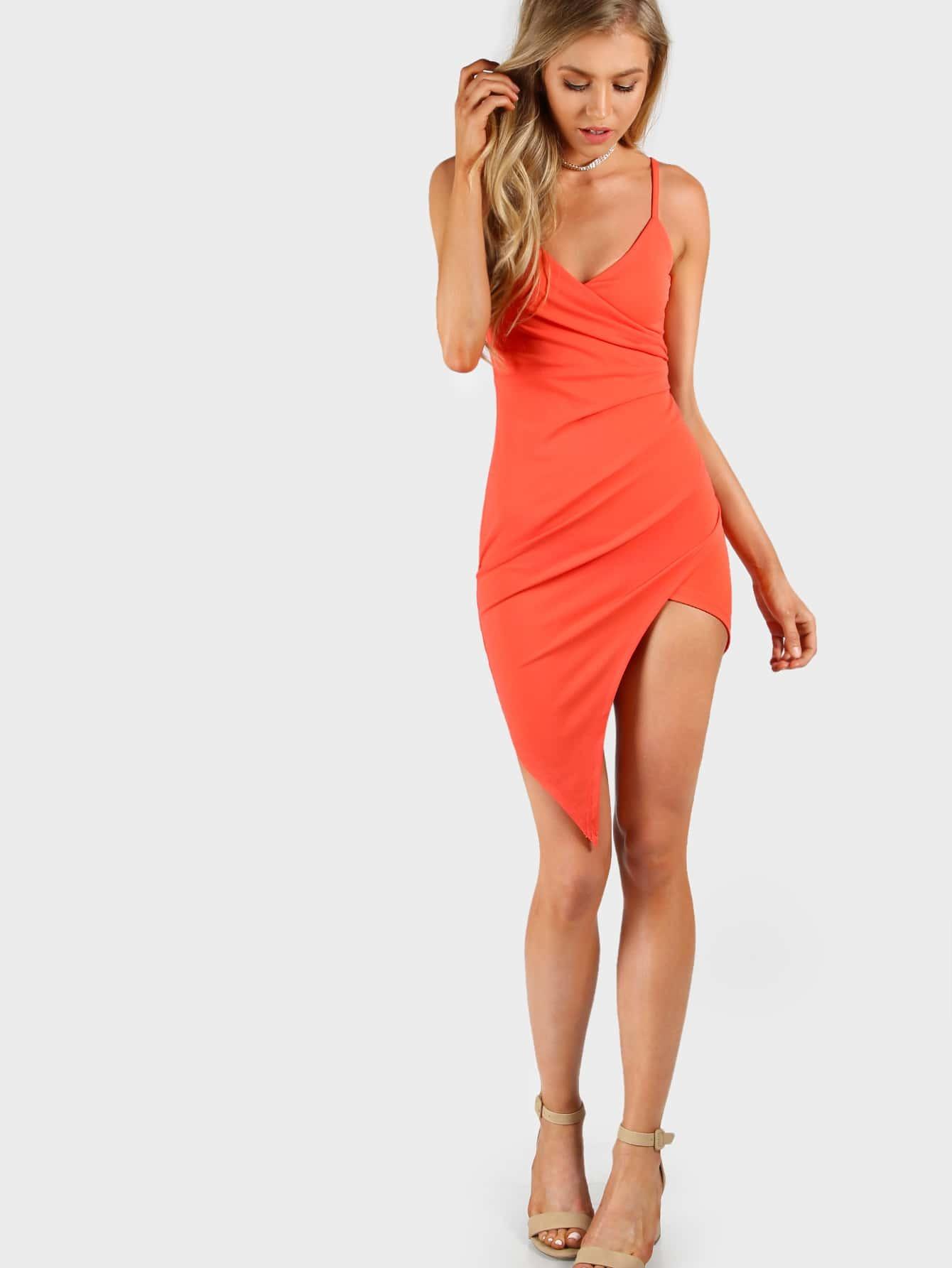 Фото Asymmetrical Overlap Cami Bodycon Dress. Купить с доставкой