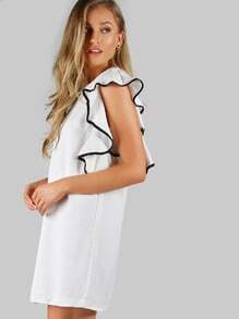 Lined Ruffle Sleeve Dress OFF WHITE