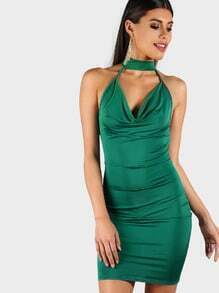 Bodycon Spaghetti Strap Choker Dress GREEN
