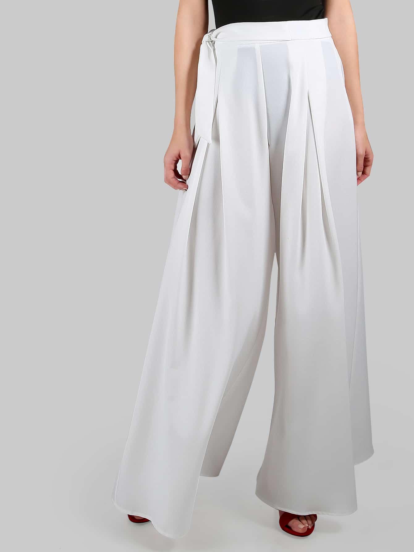 Фото Wide Leg Tie Palazzo Pants WHITE. Купить с доставкой