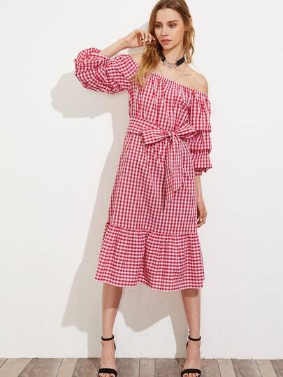 Ruched Sleeve Self Belt Tiered Hem Bardot Dress