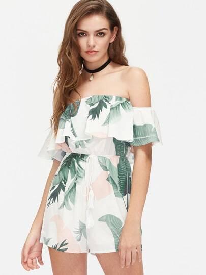 Tasseled Drawstring Waist Tropical Flounce Bardot Playsuit