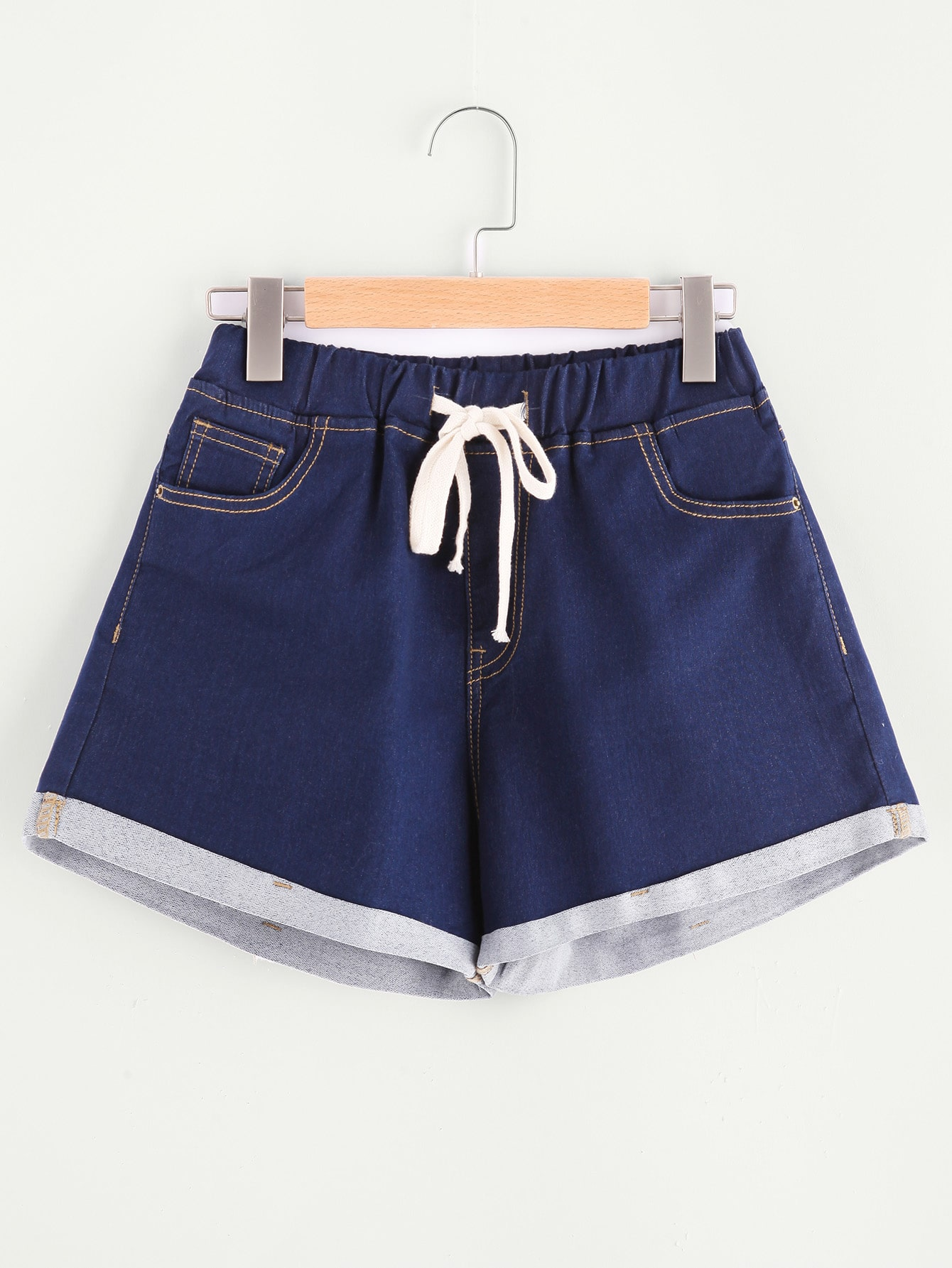 Фото Drawstring Waist Cuffed Topstitch Denim Shorts. Купить с доставкой
