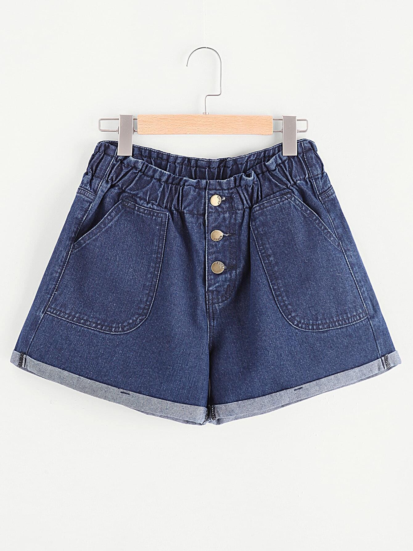 Фото Buttoned Fly Patch Pocket Cuffed Denim Shorts. Купить с доставкой