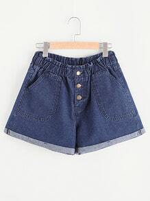 Shorts con parche en denim con bolsillo