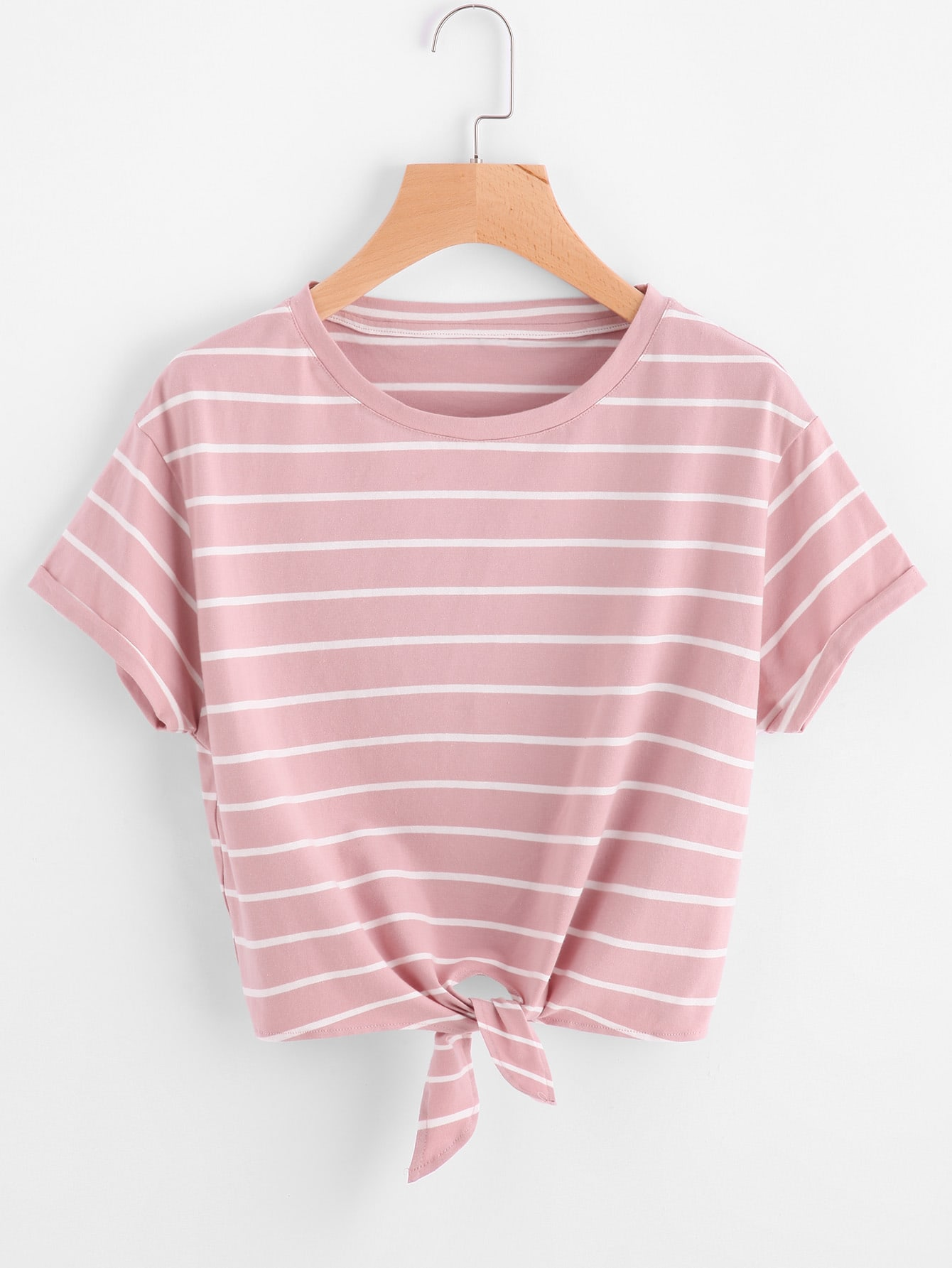 Knot front cuffed sleeve striped tee shein sheinside for Best striped t shirt