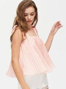Self Tie Shoulder Pleated Trapeze Top