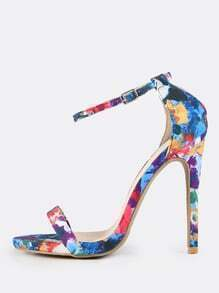 Watercolor Print Ankle Strap Heels BLUE MULTI