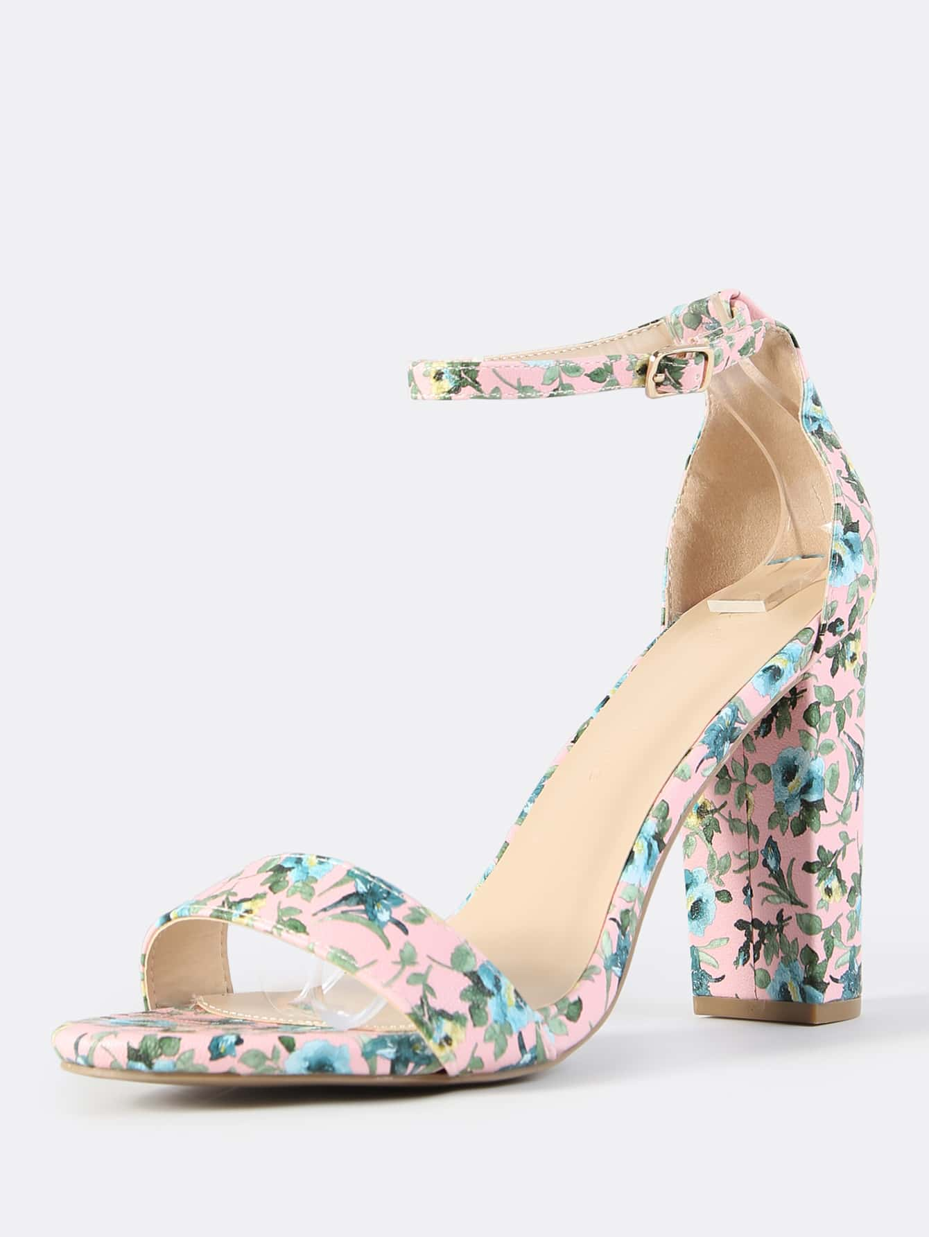 1bbdea7479f1 Chunky Floral Ankle Strap Heels PINK -SheIn(Sheinside)