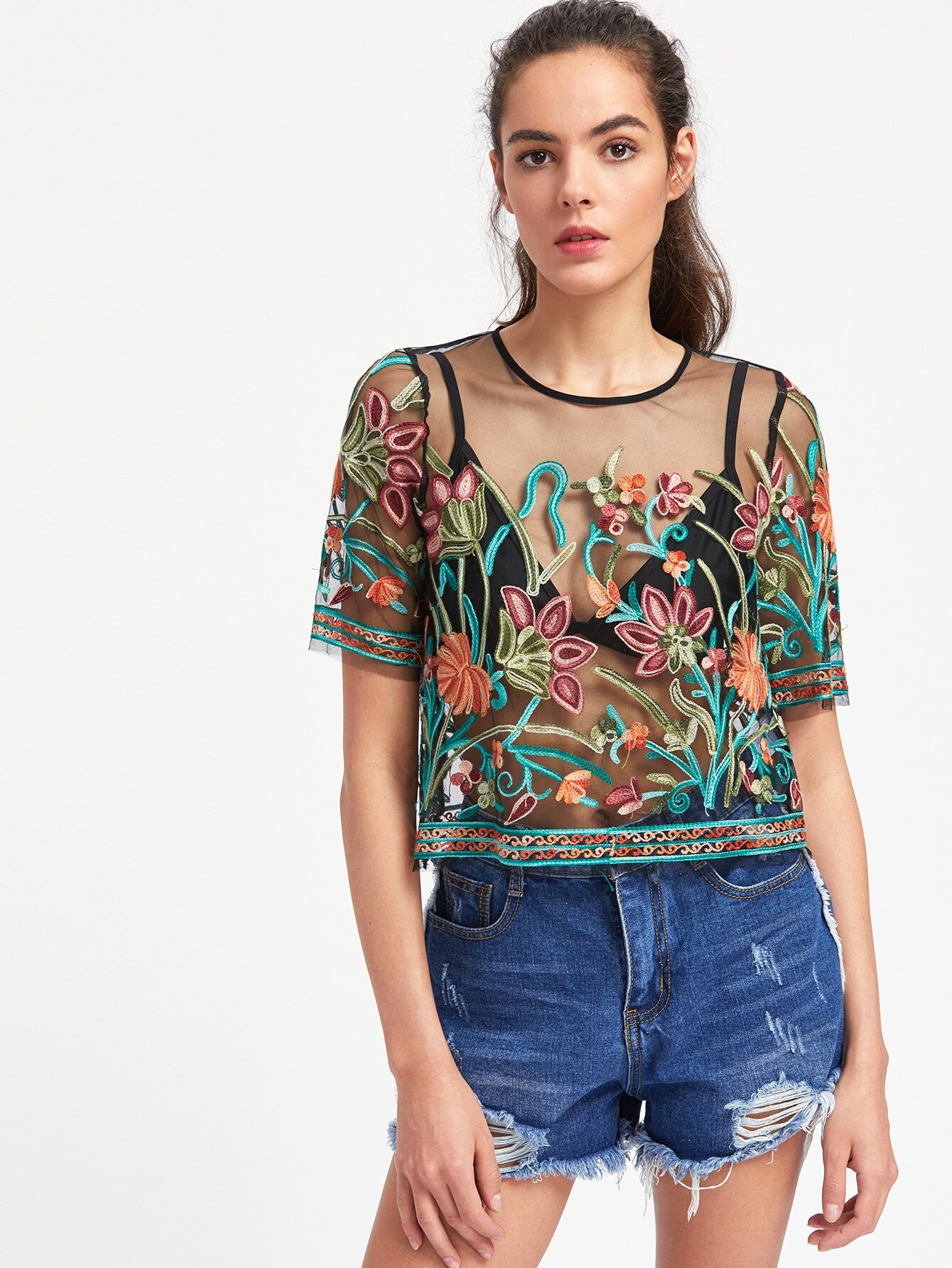 Buttoned Keyhole Botanical Embroidered Mesh Top Shein