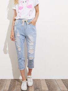 سروال الجينز جينز نمط ممزق