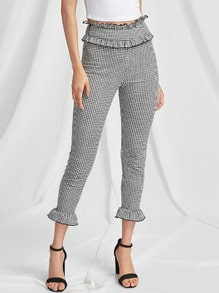 Frill Trim Zip Side Skinny Gingham Pants