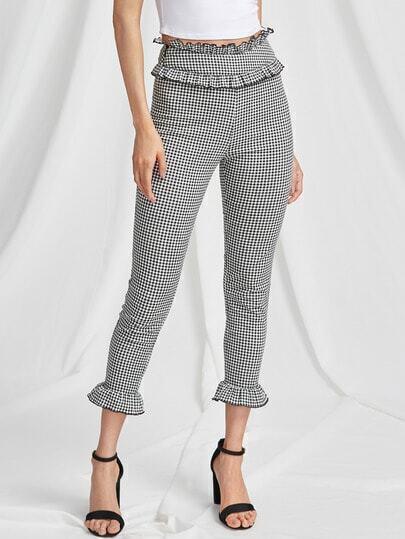 Frill Trim Zip Side Skinny Gingham Pants