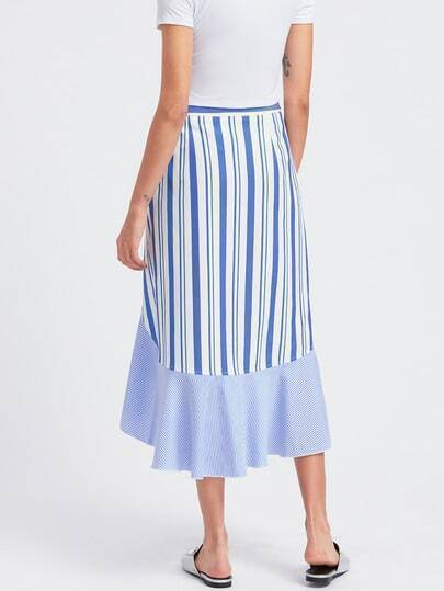 frill trim high low mixed striped wrap skirt shein sheinside