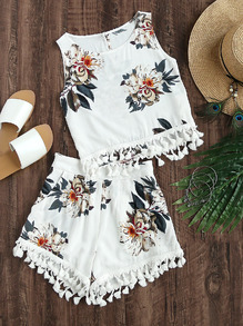 Flower Print Tassel Tank Top And Pleated Shorts Set