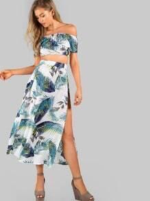 Crop Frill Bardot Top And High Slit Skirt Set