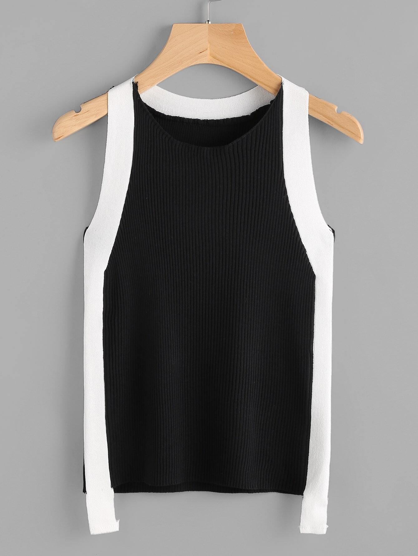 Contrast Panel Rib Knit Tank Top vest170509450