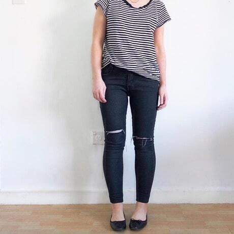 Black Slim Ripped Pockets Denim Pant -SheIn(Sheinside)