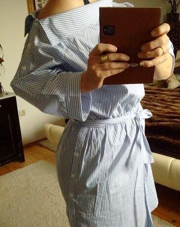 Schulterfreies kleid halbarm mit streifen blau german - Shein kleidung ...