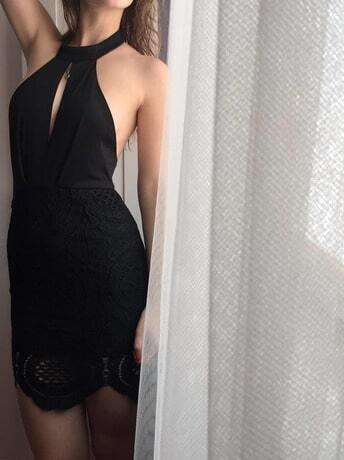 Black Halter With Lace Backless Dress Shein Sheinside