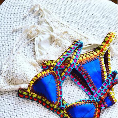 crochet trim blue bikini set  shein sheinside