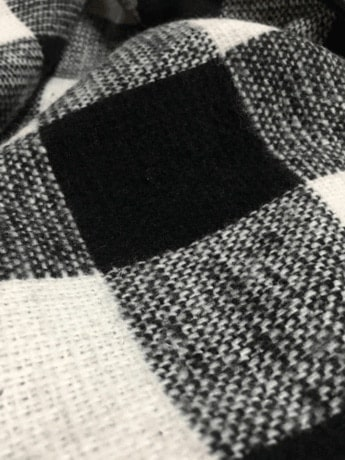 Check Plaid Contrast Ribbed Sleeve Belt Coat -SheIn(Sheinside)