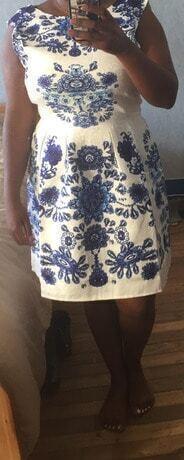 Porcelain Print Embossed Fit Amp Flare Dress Shein Sheinside