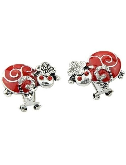Red Glaze Diamond Insect Earrings
