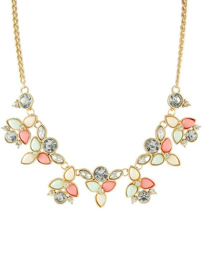 Pink Gemstone Gold Leaves Chain Necklace