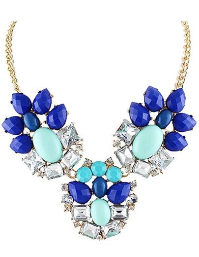 Blue White Gemstone Gold Chain Necklace