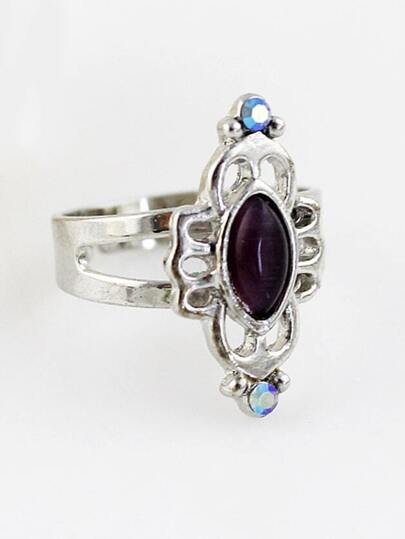 Black Gemstone Silver Hollow Ring