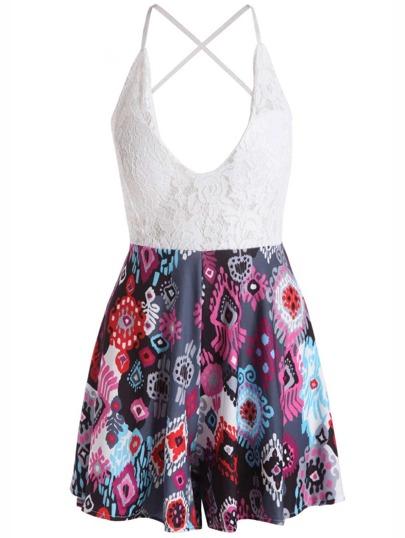 Deep V Neck Print Criss Cross Backless Dress