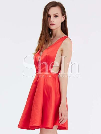Red Faille Sleeveless Modest Flare Dress