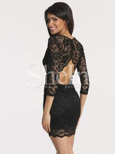Black Half Sleeve Cut Out Lace Dress
